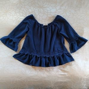 Peasant-style blue top with lace detail size M